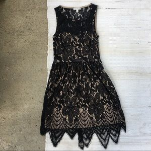 Love, fire black and nude lace dress